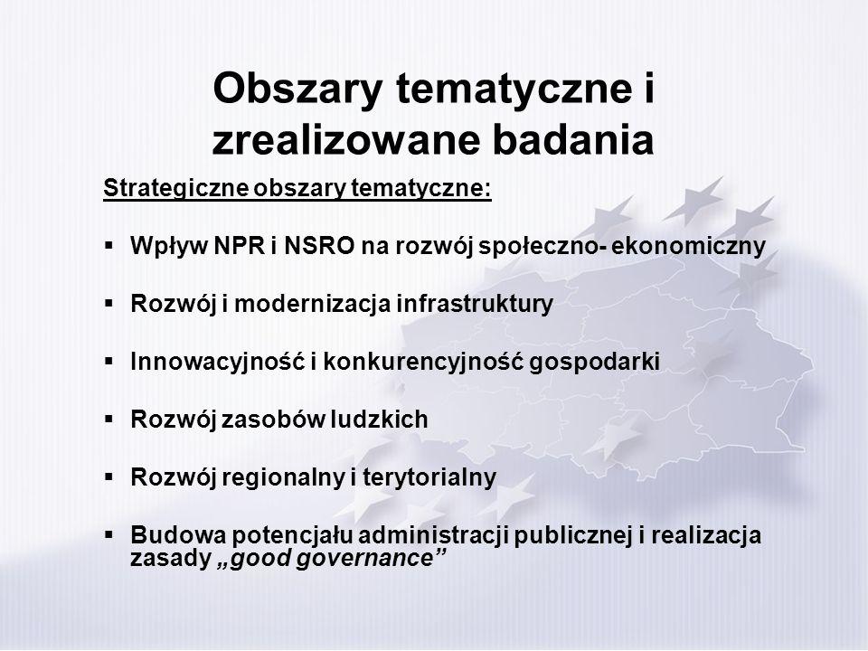 Obszary tematyczne i zrealizowane badania Strategiczne obszary tematyczne: Wpływ NPR i NSRO na rozwój społeczno- ekonomiczny Rozwój i modernizacja inf