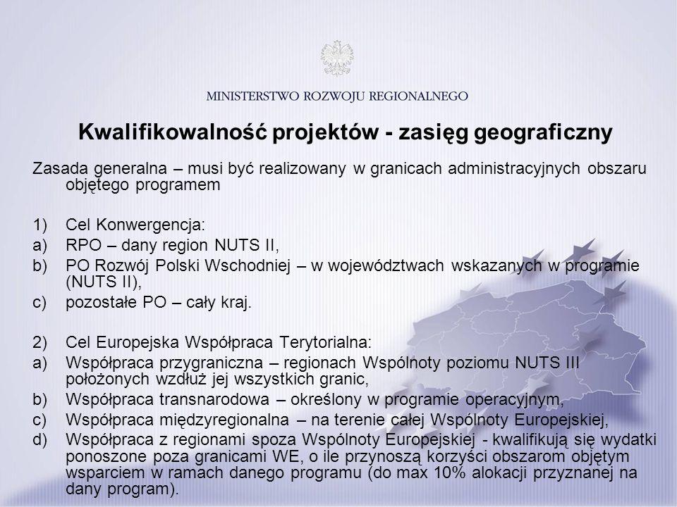Kwalifikowalność projektów - zasięg geograficzny Zasada generalna – musi być realizowany w granicach administracyjnych obszaru objętego programem 1) C