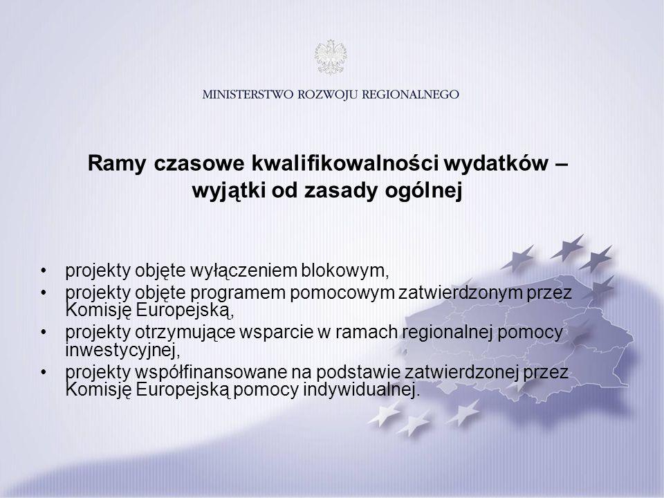 Ramy czasowe kwalifikowalności wydatków – wyjątki od zasady ogólnej projekty objęte wyłączeniem blokowym, projekty objęte programem pomocowym zatwierdzonym przez Komisję Europejską, projekty otrzymujące wsparcie w ramach regionalnej pomocy inwestycyjnej, projekty współfinansowane na podstawie zatwierdzonej przez Komisję Europejską pomocy indywidualnej.