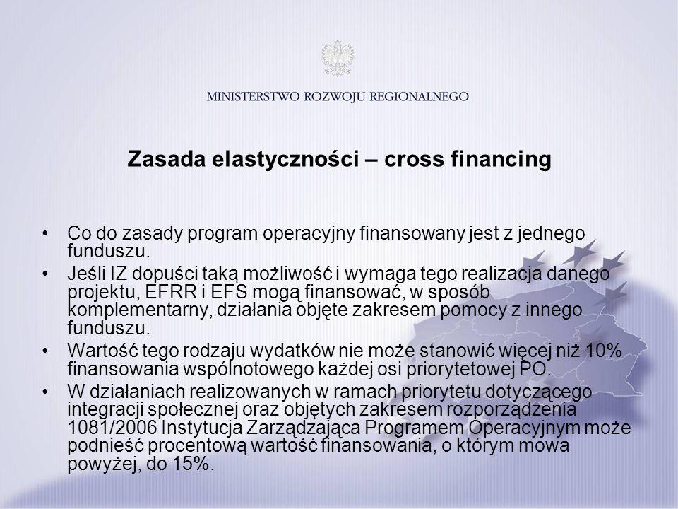 Zasada elastyczności – cross financing Co do zasady program operacyjny finansowany jest z jednego funduszu. Jeśli IZ dopuści taką możliwość i wymaga t
