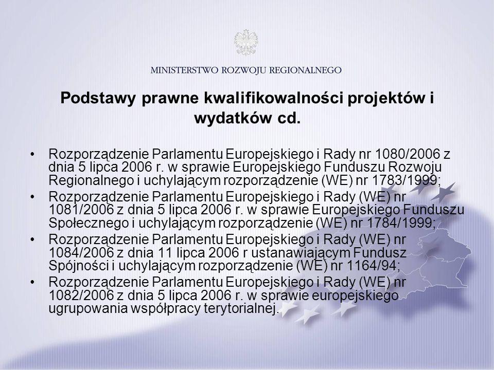 Podstawy prawne kwalifikowalności projektów i wydatków cd. Rozporządzenie Parlamentu Europejskiego i Rady nr 1080/2006 z dnia 5 lipca 2006 r. w sprawi