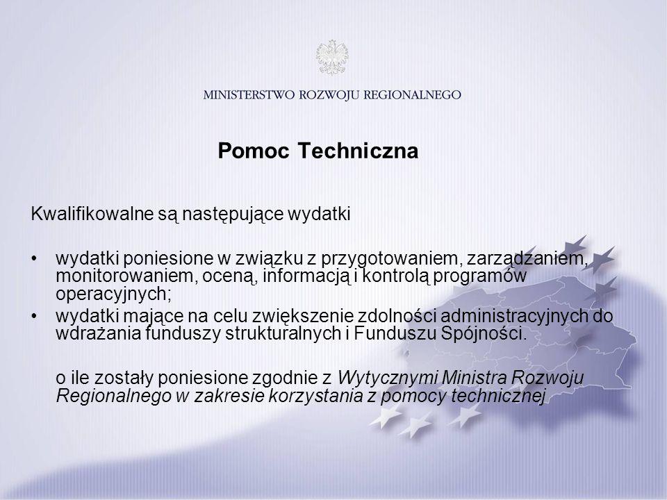 Pomoc Techniczna Kwalifikowalne są następujące wydatki wydatki poniesione w związku z przygotowaniem, zarządzaniem, monitorowaniem, oceną, informacją