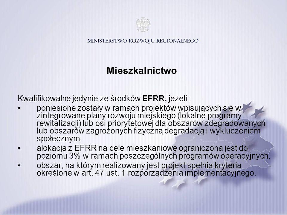 Mieszkalnictwo Kwalifikowalne jedynie ze środków EFRR, jeżeli : poniesione zostały w ramach projektów wpisujących się w zintegrowane plany rozwoju mie