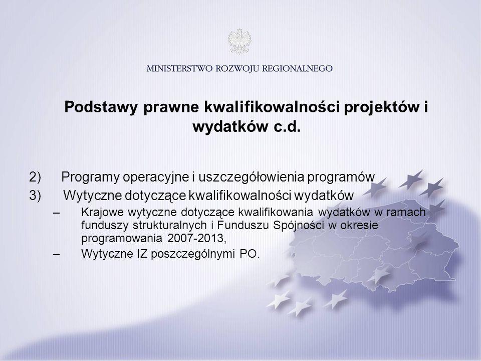 Podstawy prawne kwalifikowalności projektów i wydatków c.d. 2)Programy operacyjne i uszczegółowienia programów 3) Wytyczne dotyczące kwalifikowalności