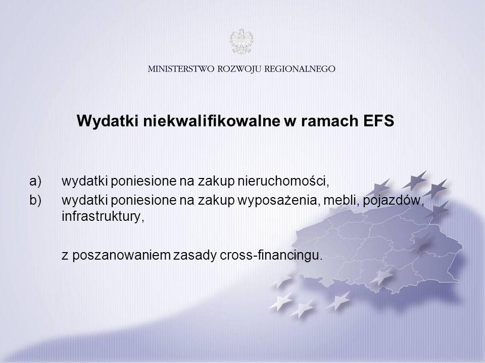Wydatki niekwalifikowalne w ramach EFS a)wydatki poniesione na zakup nieruchomości, b)wydatki poniesione na zakup wyposażenia, mebli, pojazdów, infrastruktury, z poszanowaniem zasady cross-financingu.