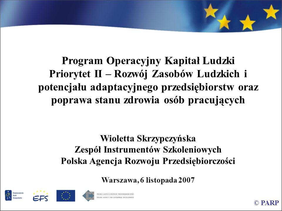 © PARP POLSKA AGENCJA ROZWOJU PRZEDSIĘBIORCZOŚCI (PARP) funkcjonuje od 1 stycznia 2001 r, powołana na mocy ustawy, podlega Ministrowi Gospodarki PARP działa na rzecz m.in.