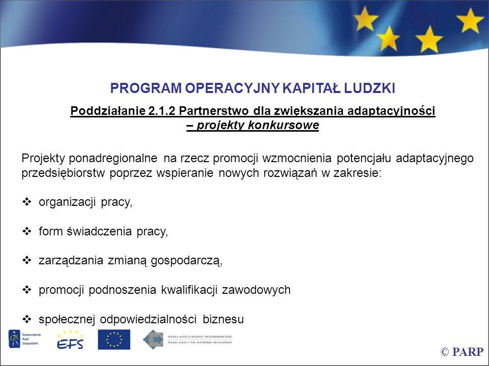 © PARP PROGRAM OPERACYJNY KAPITAŁ LUDZKI Poddziałanie 2.1.2 Partnerstwo dla zwiększania adaptacyjności – projekty konkursowe Projekty ponadregionalne