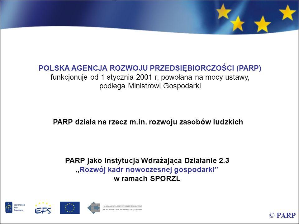 © PARP POLSKA AGENCJA ROZWOJU PRZEDSIĘBIORCZOŚCI (PARP) funkcjonuje od 1 stycznia 2001 r, powołana na mocy ustawy, podlega Ministrowi Gospodarki PARP