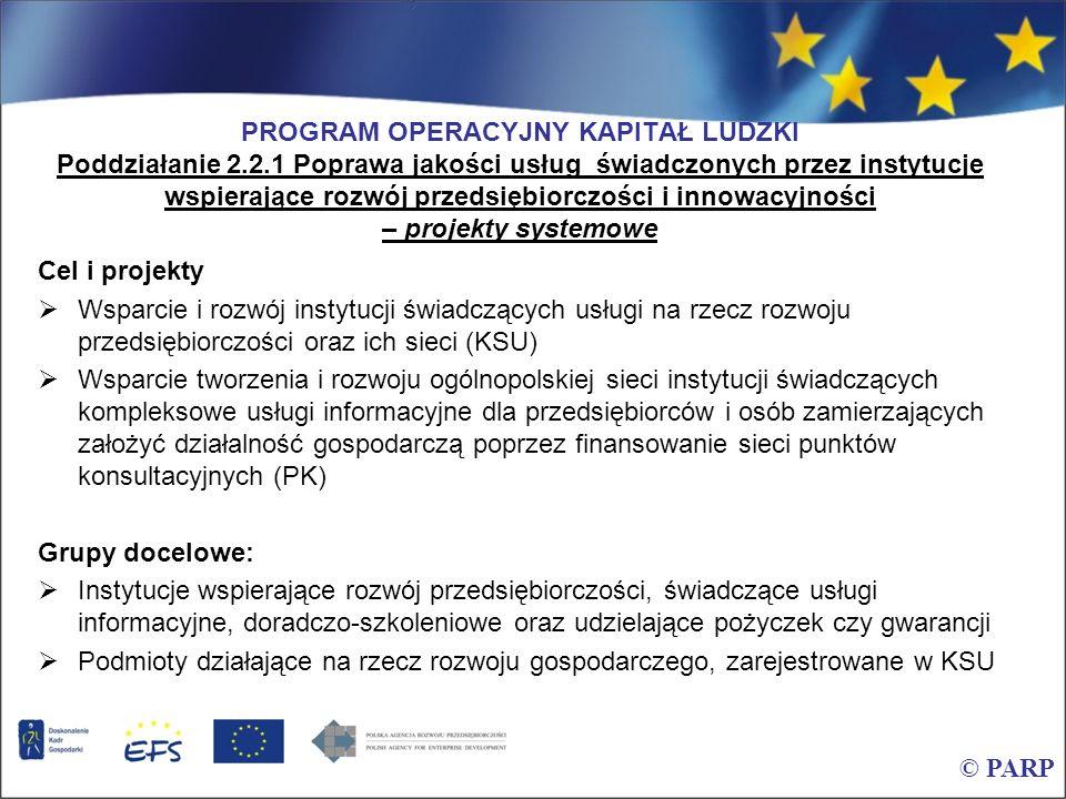 PROGRAM OPERACYJNY KAPITAŁ LUDZKI Poddziałanie 2.2.1 Poprawa jakości usług świadczonych przez instytucje wspierające rozwój przedsiębiorczości i innow