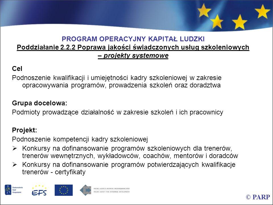 PROGRAM OPERACYJNY KAPITAŁ LUDZKI Poddziałanie 2.2.2 Poprawa jakości świadczonych usług szkoleniowych – projekty systemowe Cel Podnoszenie kwalifikacj