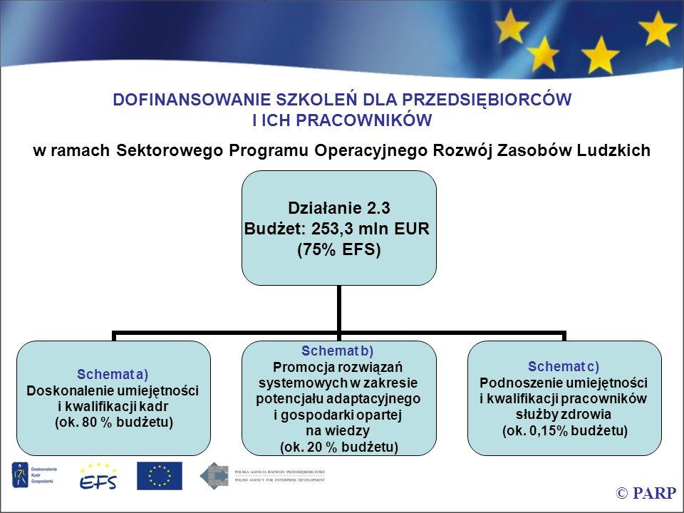 © PARP SPO RZL Działanie 2.3 schemat a – dotychczasowe efekty Okres wdrażania SPO RZL to lata 2004-2008 W okresie 09.2004 – 05.2006 złożono ponad 3200 wniosków o dofinansowanie na kwotę ponad 3,5 mld PLN, do końca 2006 roku zawarto 687 umów na kwotę ok.