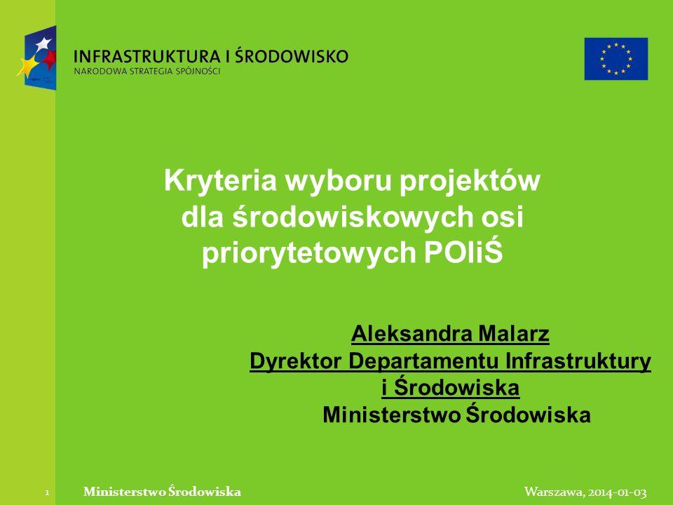 Warszawa, 2014-01-03Ministerstwo Środowiska 1 Kryteria wyboru projektów dla środowiskowych osi priorytetowych POIiŚ Aleksandra Malarz Dyrektor Departa