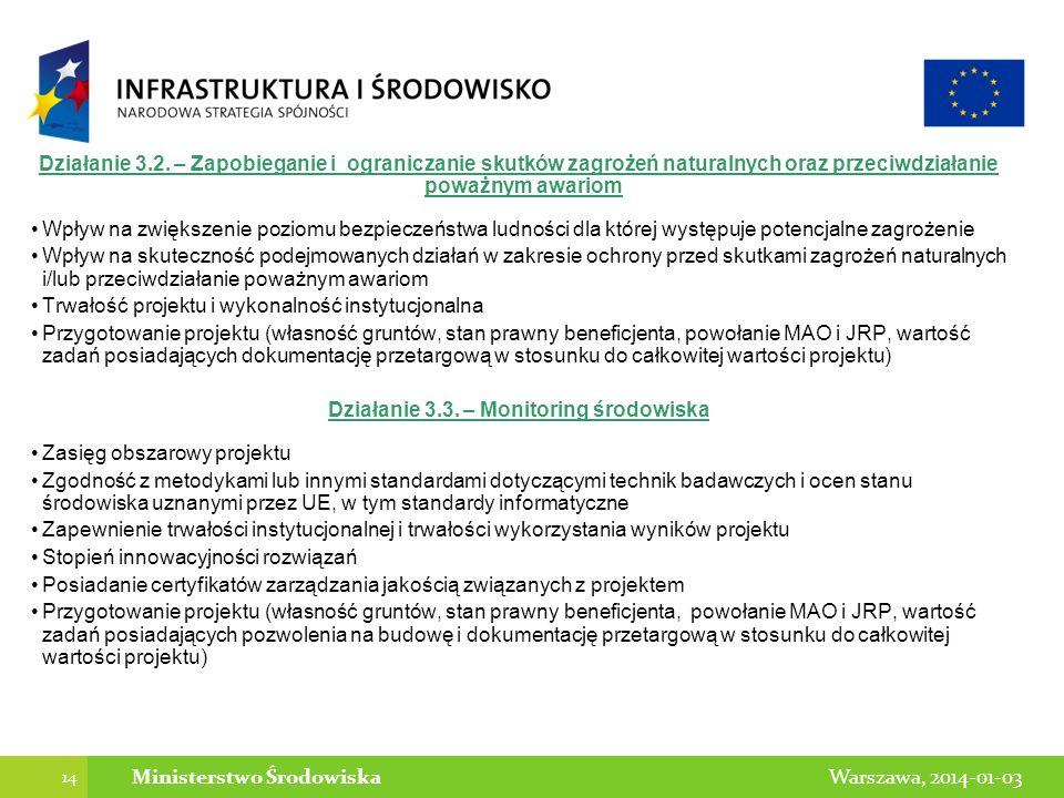 14 Warszawa, 2014-01-03Ministerstwo Środowiska Działanie 3.2. – Zapobieganie i ograniczanie skutków zagrożeń naturalnych oraz przeciwdziałanie poważny
