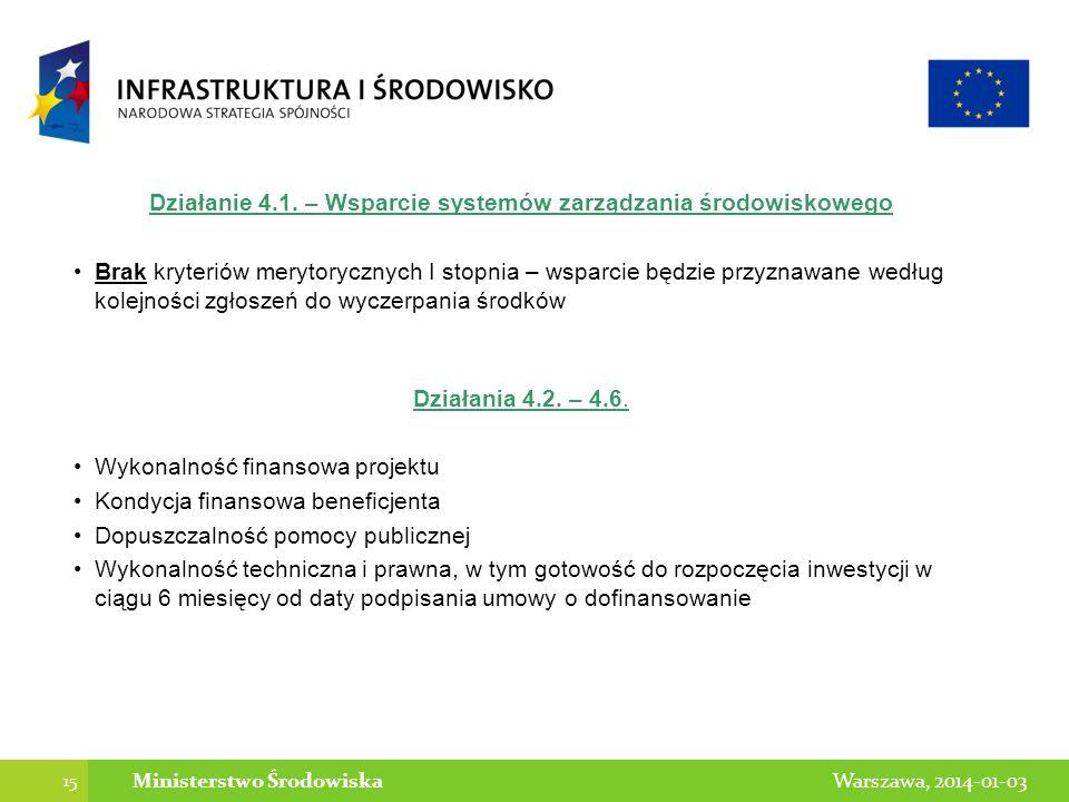 15 Warszawa, 2014-01-03Ministerstwo Środowiska Działanie 4.1. – Wsparcie systemów zarządzania środowiskowego Brak kryteriów merytorycznych I stopnia –