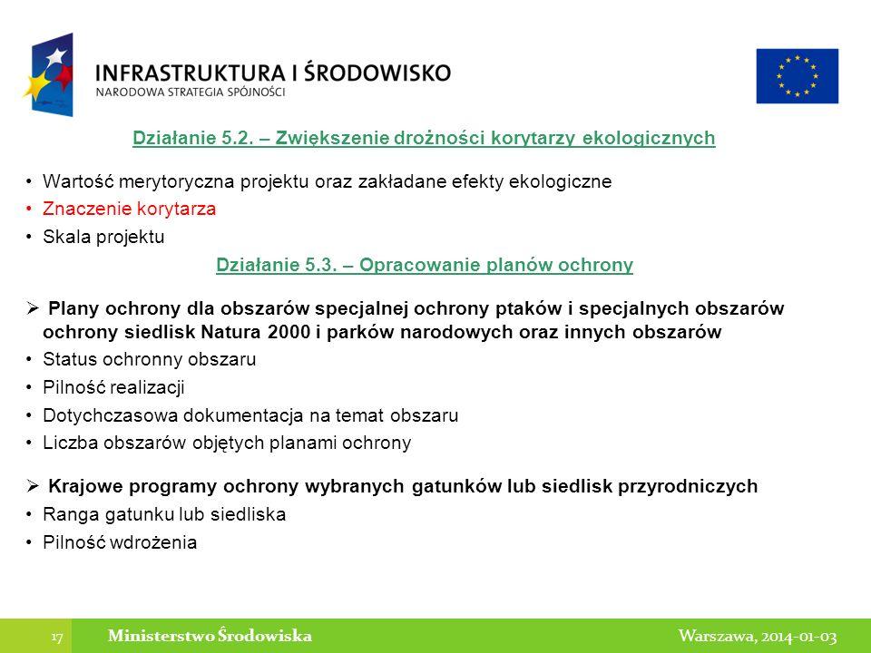17 Warszawa, 2014-01-03Ministerstwo Środowiska Działanie 5.2. – Zwiększenie drożności korytarzy ekologicznych Wartość merytoryczna projektu oraz zakła