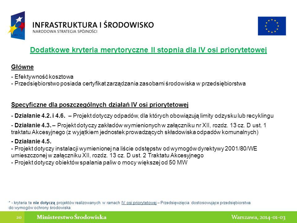 20 Warszawa, 2014-01-03Ministerstwo Środowiska * - kryteria te nie dotyczą projektów realizowanych w ramach IV osi priorytetowej – Przedsięwzięcia dos