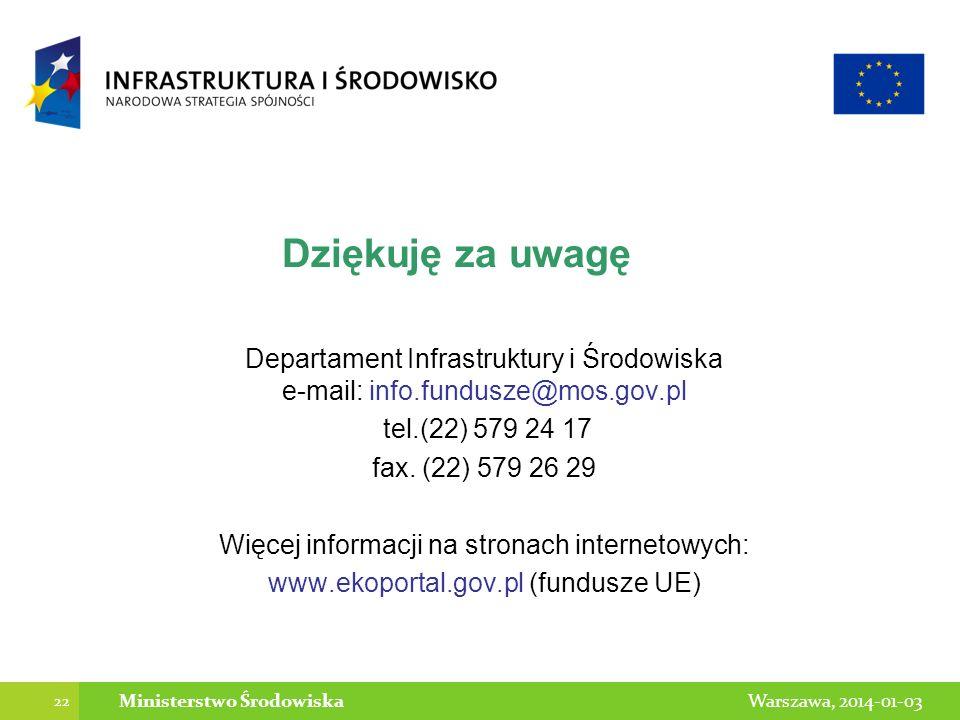 22 Warszawa, 2014-01-03Ministerstwo Środowiska Dziękuję za uwagę Departament Infrastruktury i Środowiska e-mail: info.fundusze@mos.gov.pl tel.(22) 579