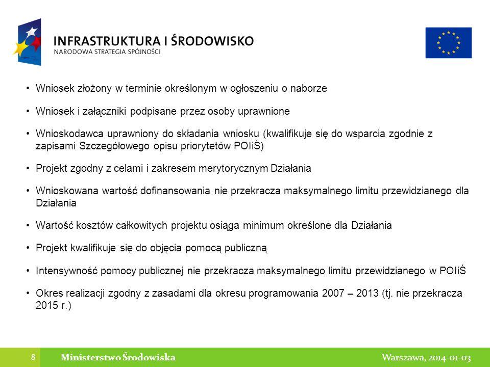 8 Warszawa, 2014-01-03Ministerstwo Środowiska Wniosek złożony w terminie określonym w ogłoszeniu o naborze Wniosek i załączniki podpisane przez osoby