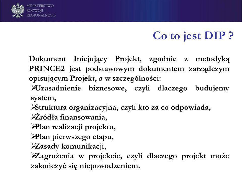 Co to jest DIP ? Dokument Inicjujący Projekt, zgodnie z metodyką PRINCE2 jest podstawowym dokumentem zarządczym opisującym Projekt, a w szczególności: