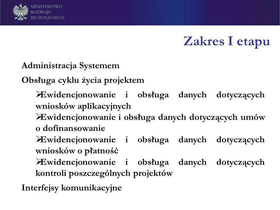 Zakres I etapu Administracja Systemem Obsługa cyklu życia projektem Ewidencjonowanie i obsługa danych dotyczących wniosków aplikacyjnych Ewidencjonowa