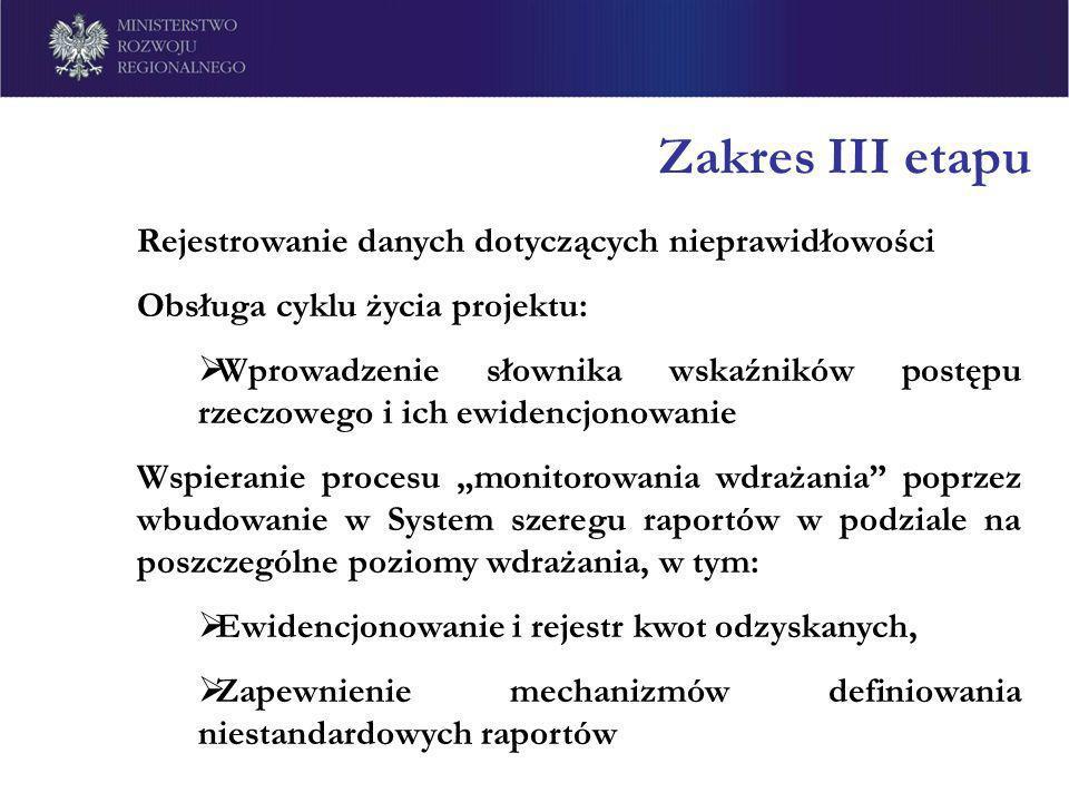 Zakres III etapu Rejestrowanie danych dotyczących nieprawidłowości Obsługa cyklu życia projektu: Wprowadzenie słownika wskaźników postępu rzeczowego i