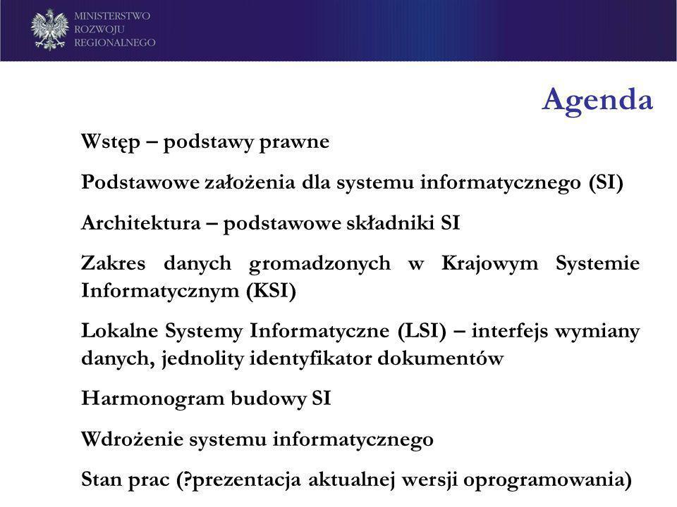 Agenda Wstęp – podstawy prawne Podstawowe założenia dla systemu informatycznego (SI) Architektura – podstawowe składniki SI Zakres danych gromadzonych
