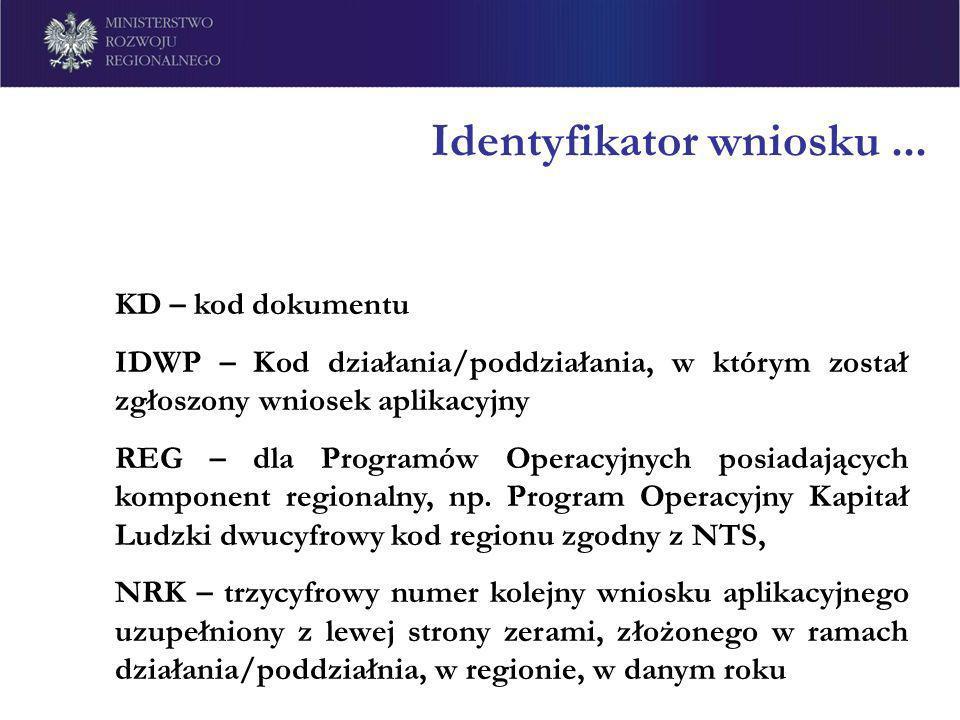 Identyfikator wniosku... KD – kod dokumentu IDWP – Kod działania/poddziałania, w którym został zgłoszony wniosek aplikacyjny REG – dla Programów Opera