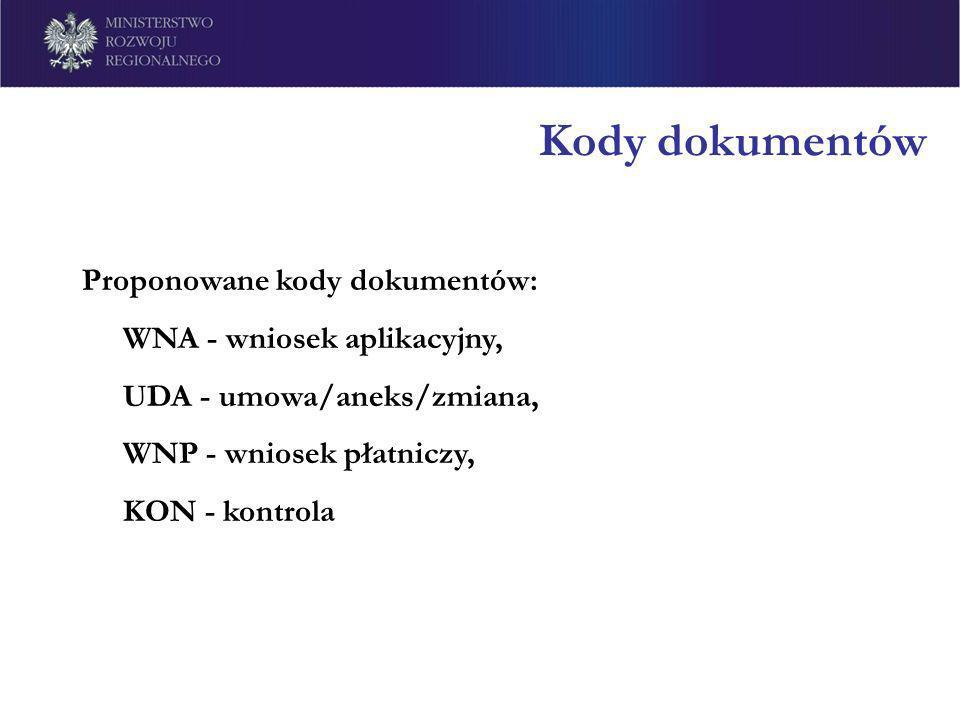 Kody dokumentów Proponowane kody dokumentów: WNA - wniosek aplikacyjny, UDA - umowa/aneks/zmiana, WNP - wniosek płatniczy, KON - kontrola