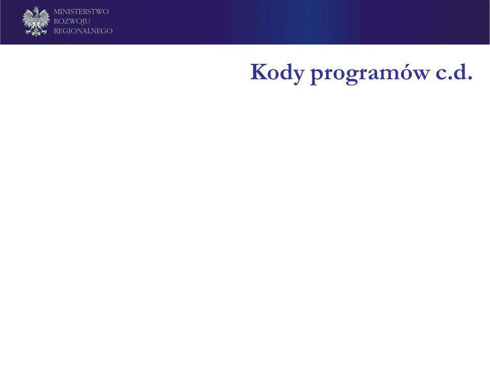Kody programów c.d.