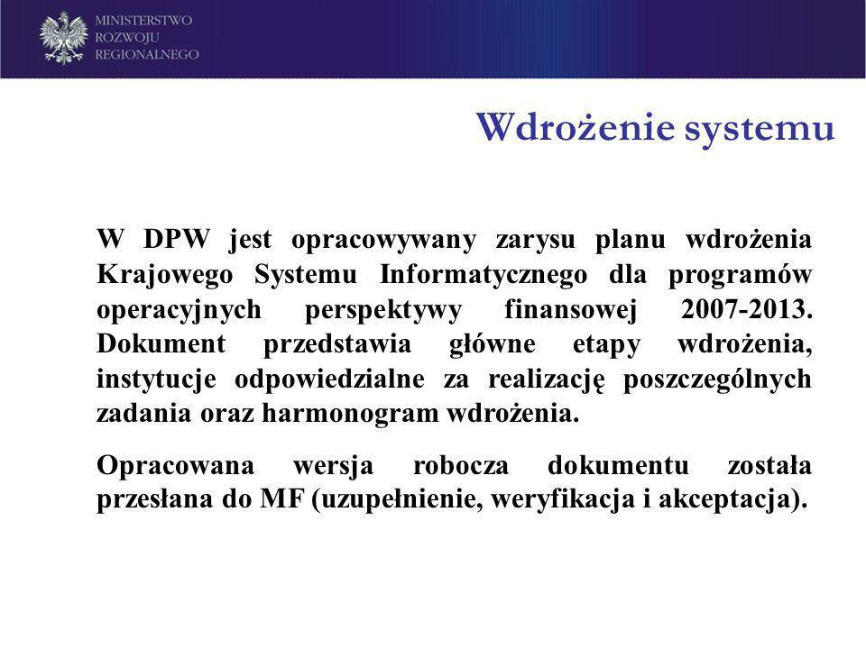 Wdrożenie systemu W DPW jest opracowywany zarysu planu wdrożenia Krajowego Systemu Informatycznego dla programów operacyjnych perspektywy finansowej 2