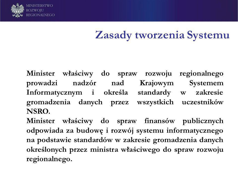 Zasady tworzenia Systemu Minister właściwy do spraw rozwoju regionalnego prowadzi nadzór nad Krajowym Systemem Informatycznym i określa standardy w za