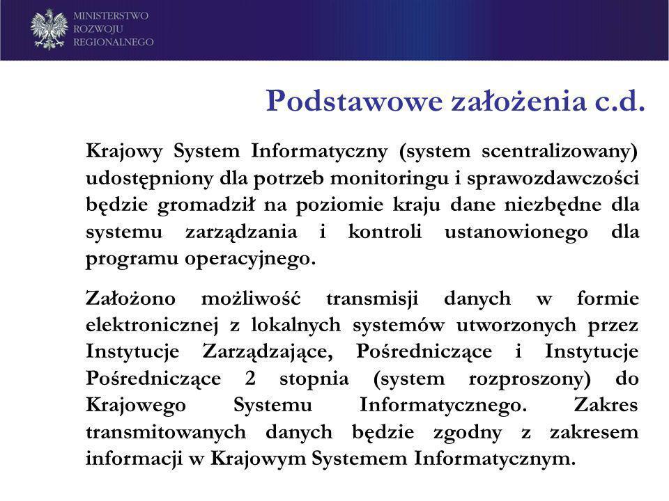 Podstawowe założenia c.d. Krajowy System Informatyczny (system scentralizowany) udostępniony dla potrzeb monitoringu i sprawozdawczości będzie gromadz