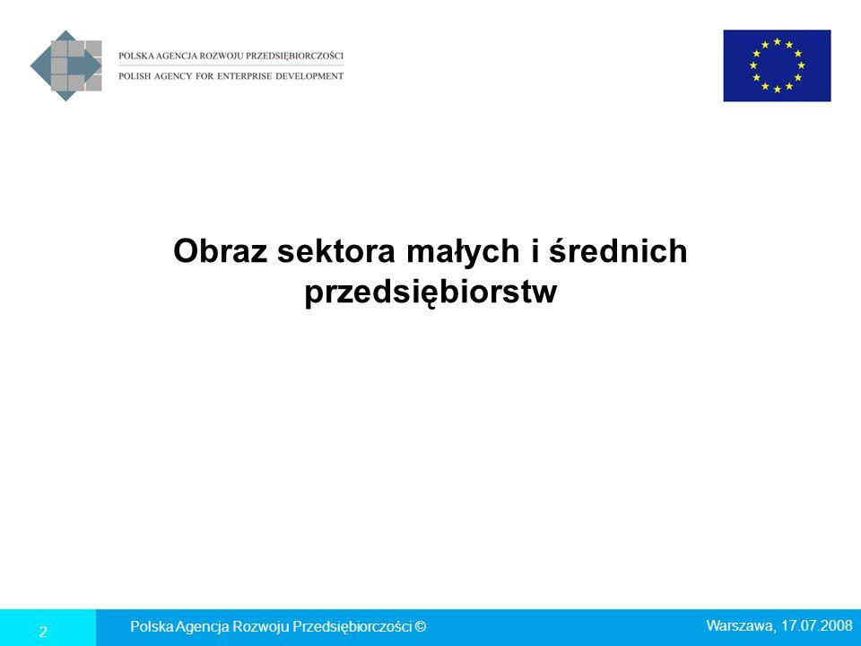 Obraz sektora małych i średnich przedsiębiorstw Polska Agencja Rozwoju Przedsiębiorczości © Warszawa, 17.07.2008 2