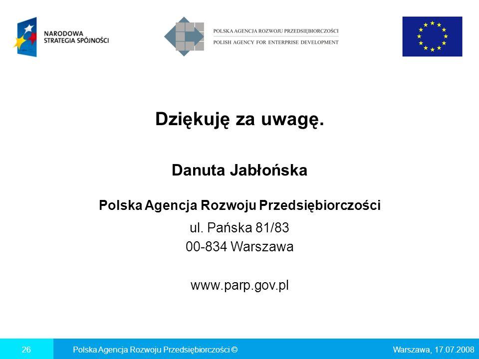 Dziękuję za uwagę. Danuta Jabłońska Polska Agencja Rozwoju Przedsiębiorczości ul. Pańska 81/83 00-834 Warszawa www.parp.gov.pl Warszawa, 17.07.2008Pol