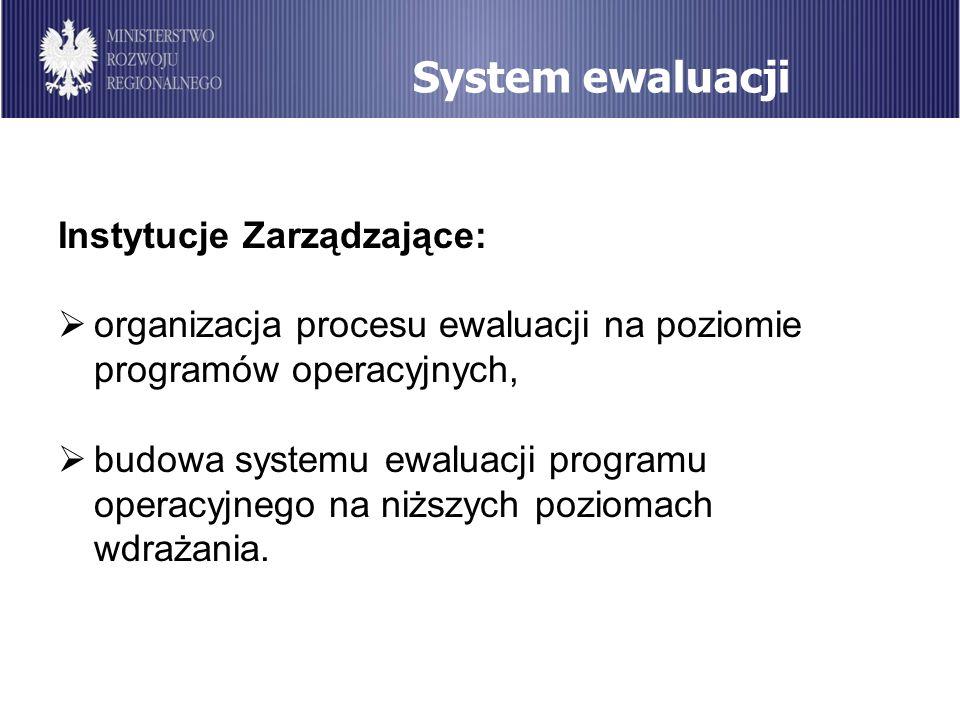 System ewaluacji Instytucje Zarządzające: organizacja procesu ewaluacji na poziomie programów operacyjnych, budowa systemu ewaluacji programu operacyj
