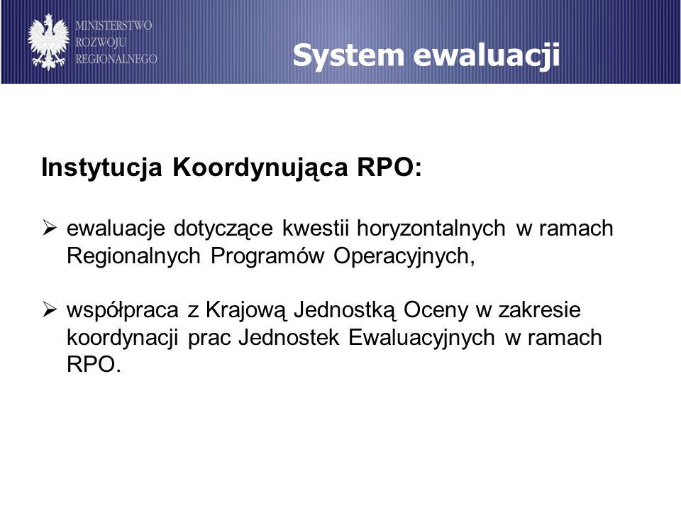 System ewaluacji Instytucja Koordynująca RPO: ewaluacje dotyczące kwestii horyzontalnych w ramach Regionalnych Programów Operacyjnych, współpraca z Kr