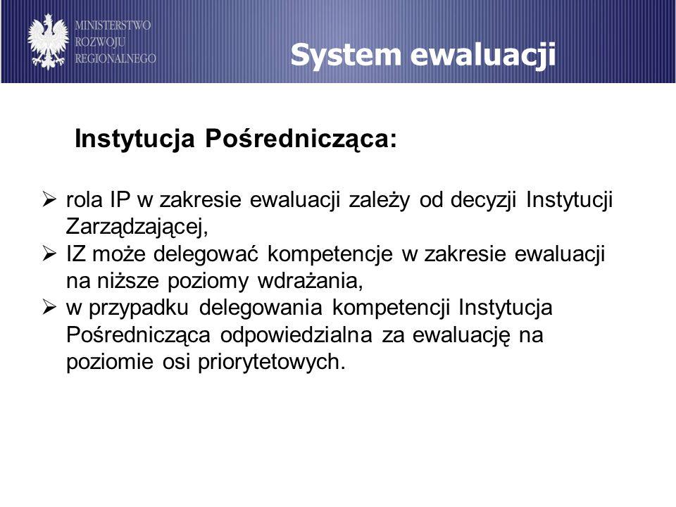 System ewaluacji Instytucja Pośrednicząca: rola IP w zakresie ewaluacji zależy od decyzji Instytucji Zarządzającej, IZ może delegować kompetencje w za