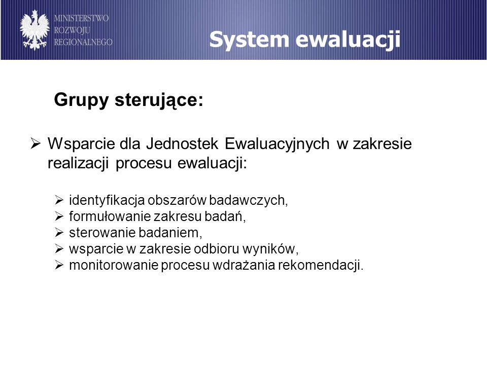 System ewaluacji Grupy sterujące: Wsparcie dla Jednostek Ewaluacyjnych w zakresie realizacji procesu ewaluacji: identyfikacja obszarów badawczych, for