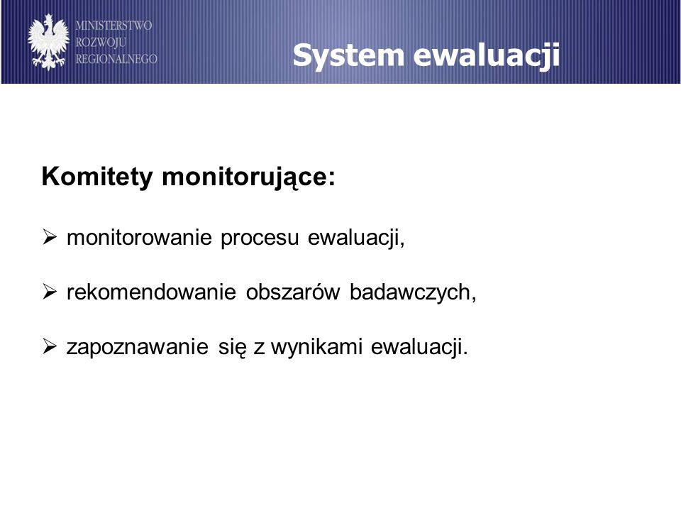 System ewaluacji Komitety monitorujące: monitorowanie procesu ewaluacji, rekomendowanie obszarów badawczych, zapoznawanie się z wynikami ewaluacji.
