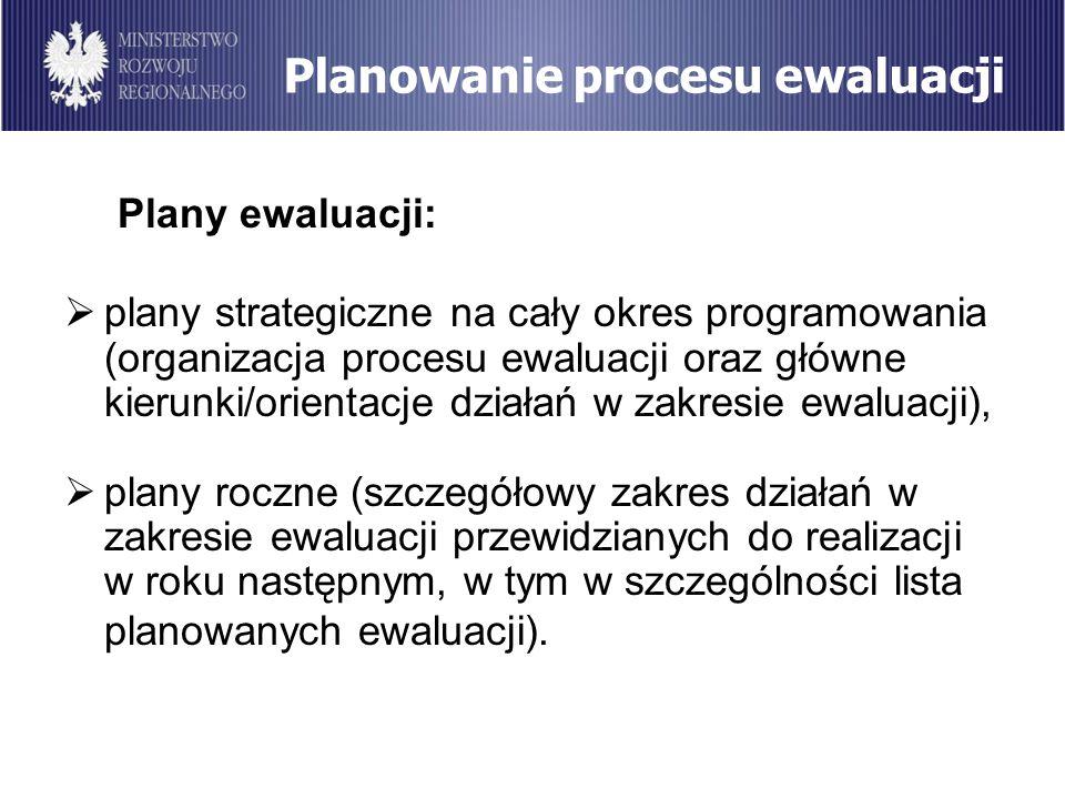 Planowanie procesu ewaluacji Plany ewaluacji: plany strategiczne na cały okres programowania (organizacja procesu ewaluacji oraz główne kierunki/orien