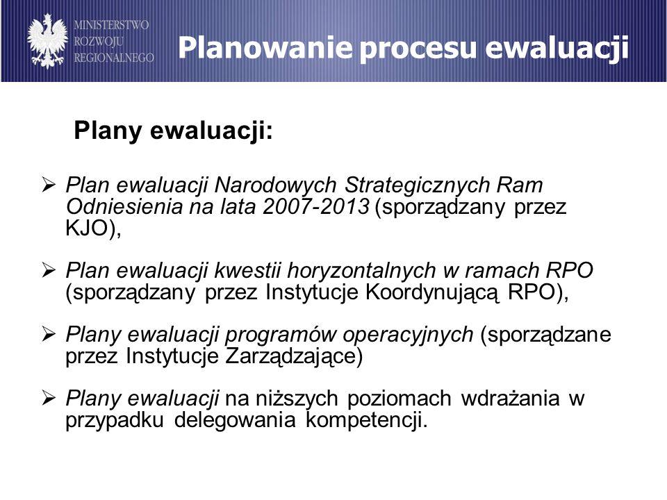 Planowanie procesu ewaluacji Plany ewaluacji: Plan ewaluacji Narodowych Strategicznych Ram Odniesienia na lata 2007-2013 (sporządzany przez KJO), Plan