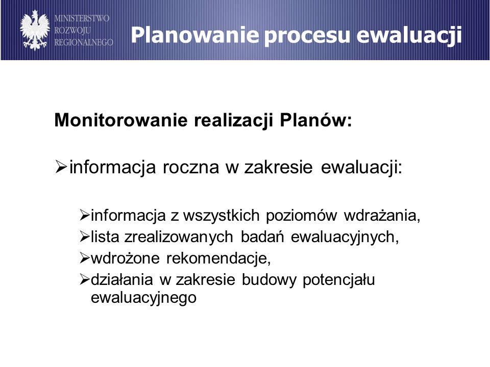Planowanie procesu ewaluacji Monitorowanie realizacji Planów: informacja roczna w zakresie ewaluacji: informacja z wszystkich poziomów wdrażania, list