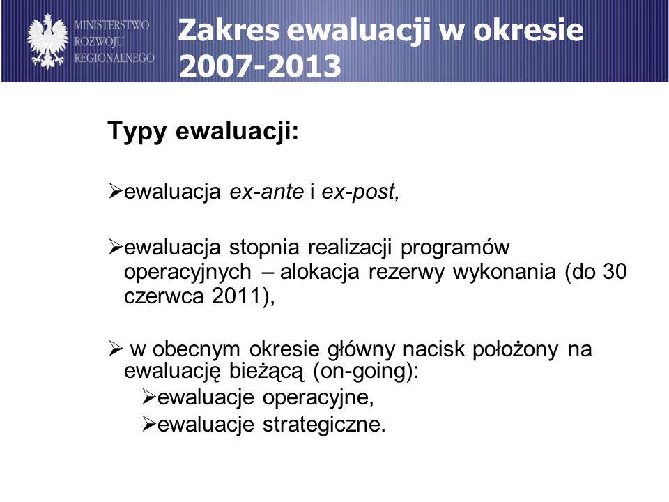 Zakres ewaluacji w okresie 2007-2013 Typy ewaluacji: ewaluacja ex-ante i ex-post, ewaluacja stopnia realizacji programów operacyjnych – alokacja rezer