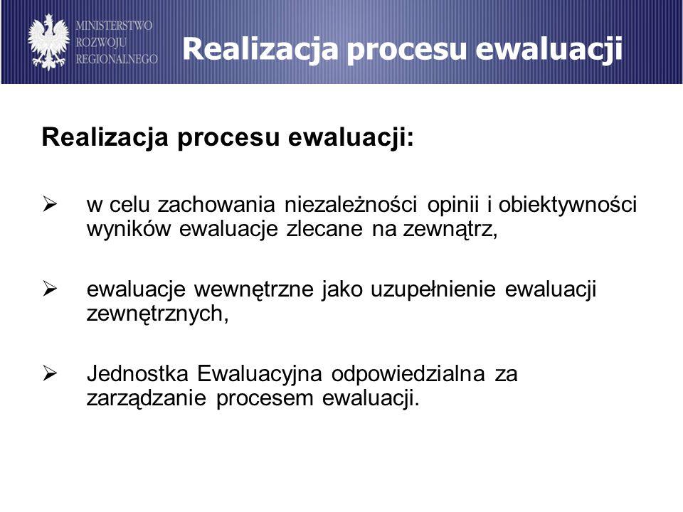 Realizacja procesu ewaluacji Realizacja procesu ewaluacji: w celu zachowania niezależności opinii i obiektywności wyników ewaluacje zlecane na zewnątr