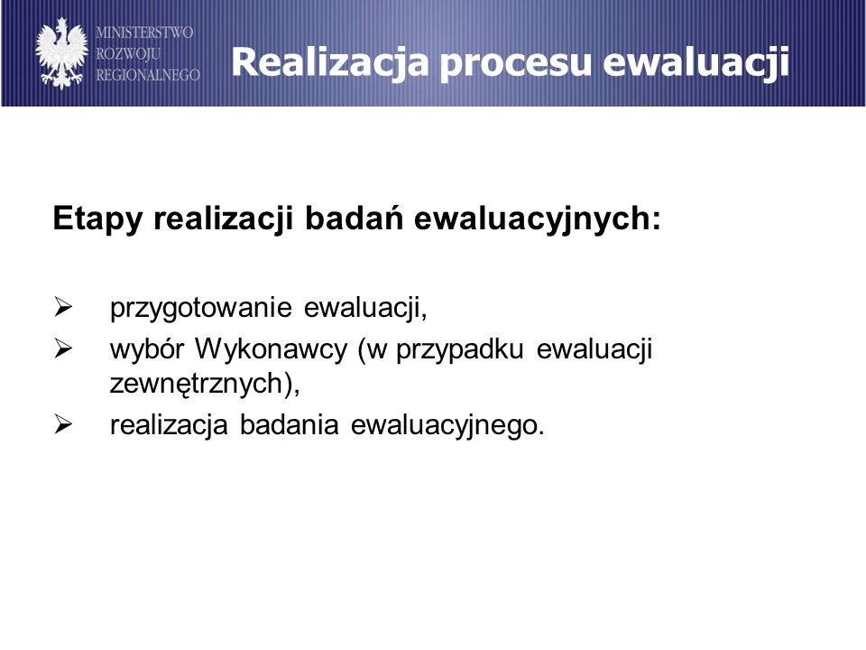 Realizacja procesu ewaluacji Etapy realizacji badań ewaluacyjnych: przygotowanie ewaluacji, wybór Wykonawcy (w przypadku ewaluacji zewnętrznych), real