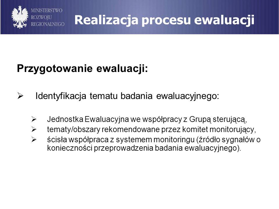 Realizacja procesu ewaluacji Przygotowanie ewaluacji: Identyfikacja tematu badania ewaluacyjnego: Jednostka Ewaluacyjna we współpracy z Grupą sterując