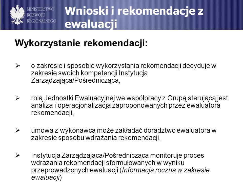 Wnioski i rekomendacje z ewaluacji Wykorzystanie rekomendacji: o zakresie i sposobie wykorzystania rekomendacji decyduje w zakresie swoich kompetencji