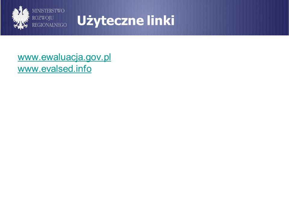 Użyteczne linki www.ewaluacja.gov.pl www.evalsed.info