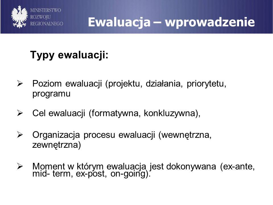 Ewaluacja – wprowadzenie Typy ewaluacji: Poziom ewaluacji (projektu, działania, priorytetu, programu Cel ewaluacji (formatywna, konkluzywna), Organiza