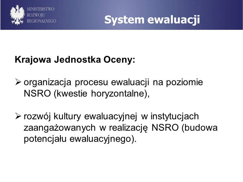 System ewaluacji Krajowa Jednostka Oceny: organizacja procesu ewaluacji na poziomie NSRO (kwestie horyzontalne), rozwój kultury ewaluacyjnej w instytu